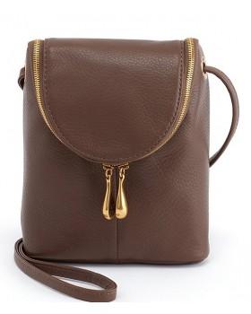 Fern Zipper Flip Mini Top Grain Leather Cross Body Bag