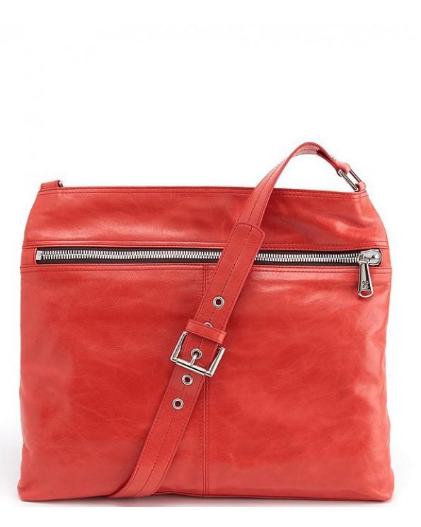 Lorna Front Zipper Top Grain Leather Shiny Nickel Hardware Crossbody Bag