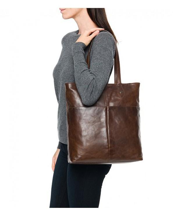 Melissa Simple Italian Leather Zippered Tote Bag