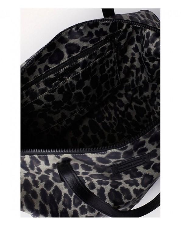 Washed Nylon Leopard-Print Handbag