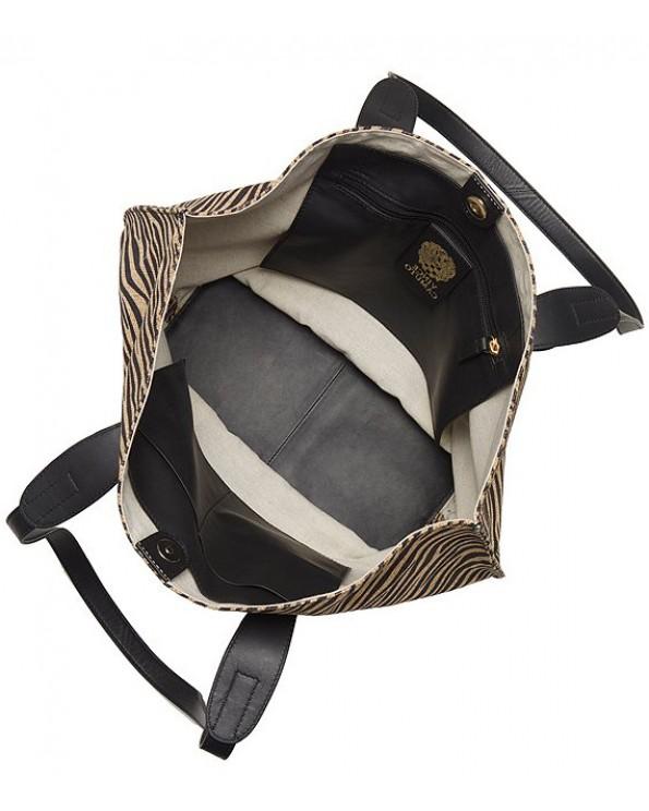 Elsy Burlap Zebra Printed Tote Bags