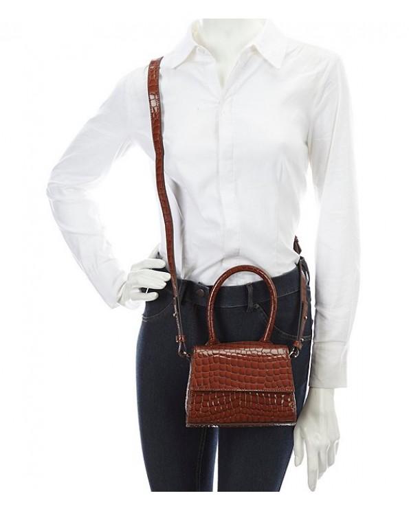 Silva Croc-Embossed Leather Cross-Body Bag