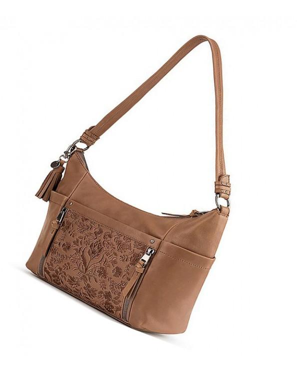 Leather Embroidered Hobo Bag