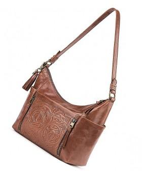 Leather Embossed Hobo Bag