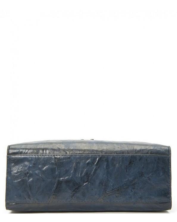 Ella Metallic Leather Top Zipper Tote Bag