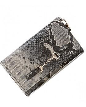 Horsebit Snake Print Handbag